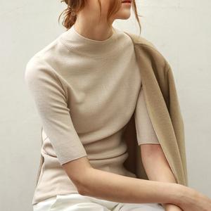 半高领中袖女 打底衫修身五分袖针织衫 秋冬新款紧身毛衣薄款上衣