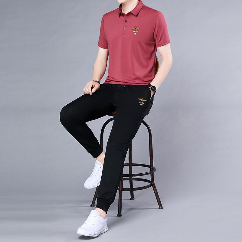 Summer new mens casual suit little monster short sleeve Lapel T-shirt fashion slim two-piece pants