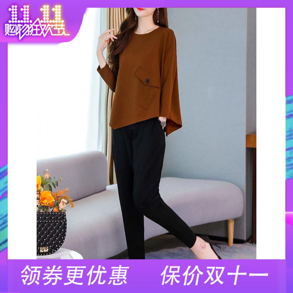 休闲套装女2019春秋季新款潮显瘦宽松大码小香风运动风时尚两件套