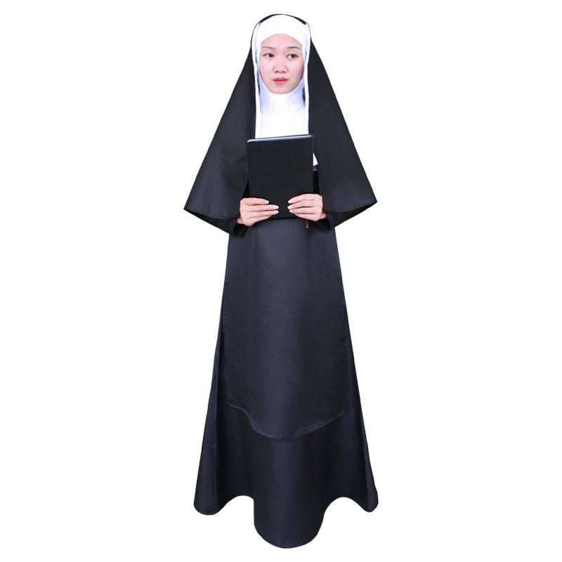 聖節服装成人キリスト男宣教師服マリア神父修女服コスプレA 1