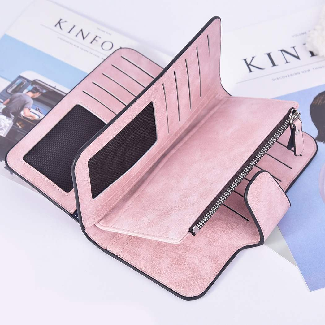 New buckle womens Korean wallet big 30% off fashion womens bag multi card womens purse frosted two color fabric