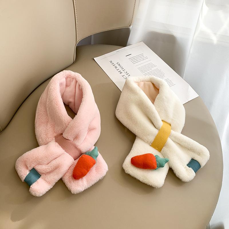 冬季保暖儿童围巾卡通水果图案仿兔毛假领子胡萝卜围脖