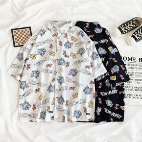 夏季韩版新款宽松个性印花涂鸦短袖衬衫女学生原宿bf风百搭上衣潮