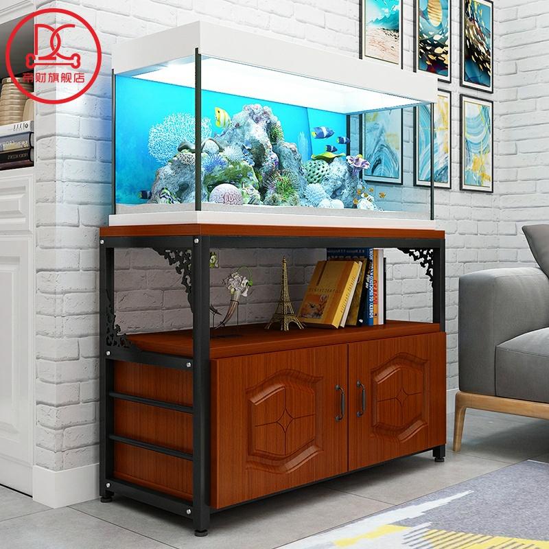 家用客厅钢实木鱼缸架子底座铁艺时尚简约多层置物水族箱底柜欧式,可领取5元天猫优惠券