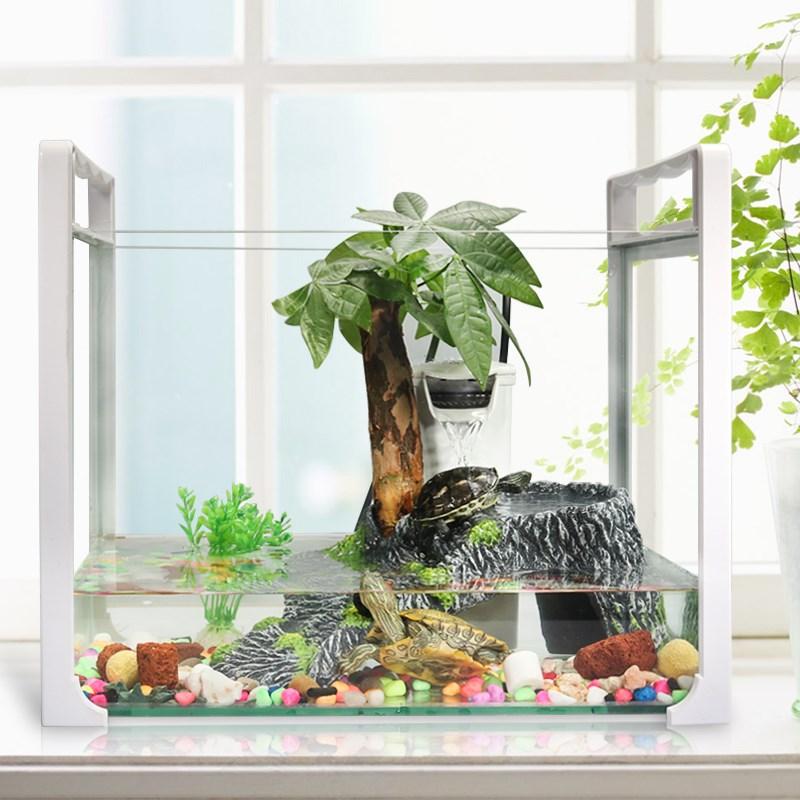龟鱼缸水族箱长方形高清桌面不怕摔高强雅克力亚克力有机玻璃虾,可领取5元天猫优惠券