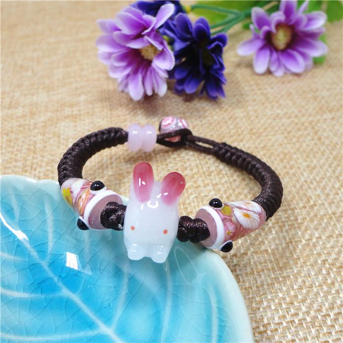 中国生肖属兔辟邪转运礼物山水名物日式琉璃兔子鲤鱼旗手链女玉兔