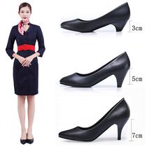 工作鞋女黑色舒适粗跟软底空姐面试礼仪鞋女鞋大码职业正装高跟鞋