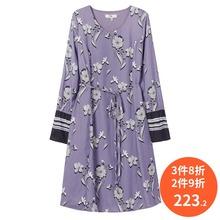 印花A字修身 系带圆领长袖 连衣裙118310C7698 Lily2019秋新款 女装