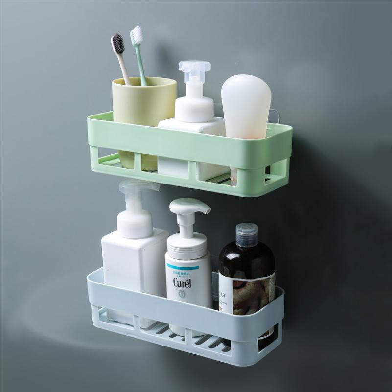 无痕粘贴挂式置物架厨房置物架所浴室用品墙面储物盒收纳架4个装