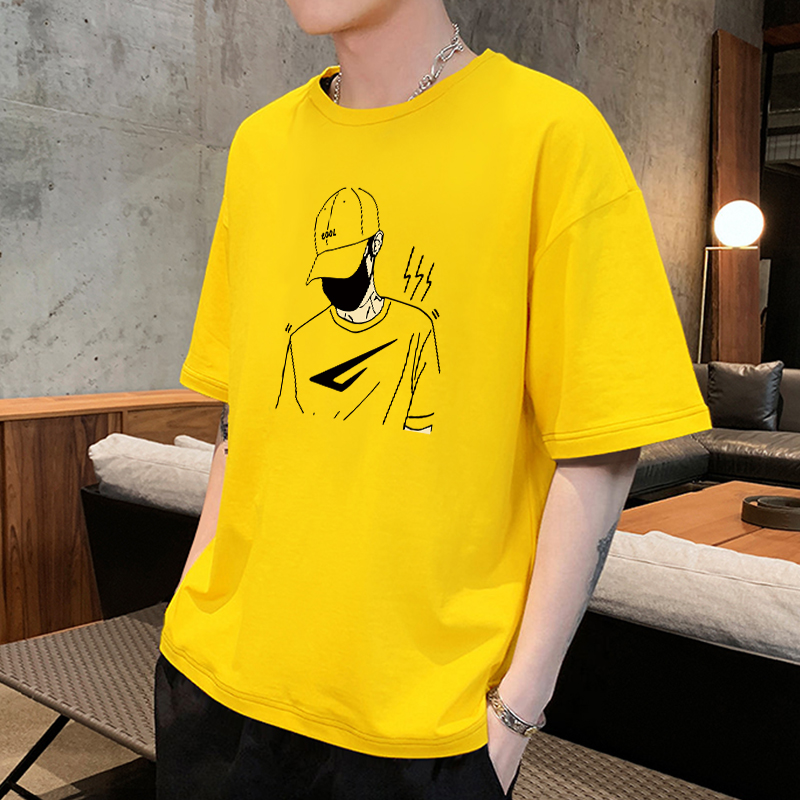 Summer Hong Kong fashion brand yellow cotton short sleeve t-shirt men's half sleeve upper garment Boys Youth trend