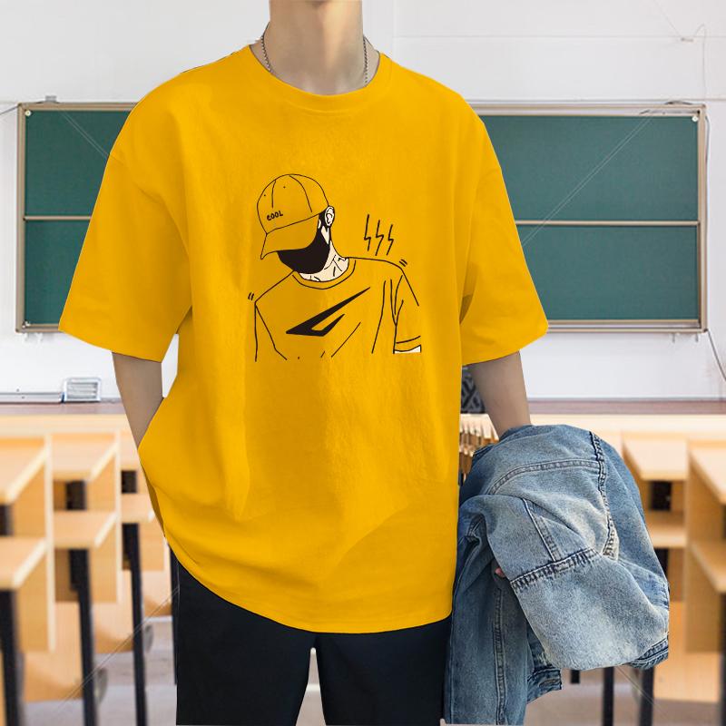 百搭夏季港风潮牌纯棉短袖时尚男士t恤男半袖青少年衣服潮流新款