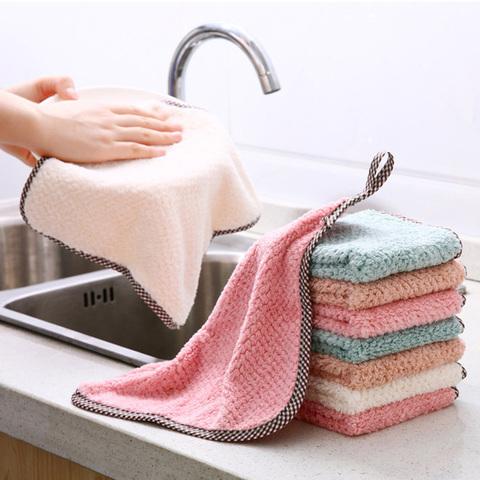 可挂式珊瑚绒擦手巾厨房用品不沾油清洁巾不掉毛吸水抹布洗碗布