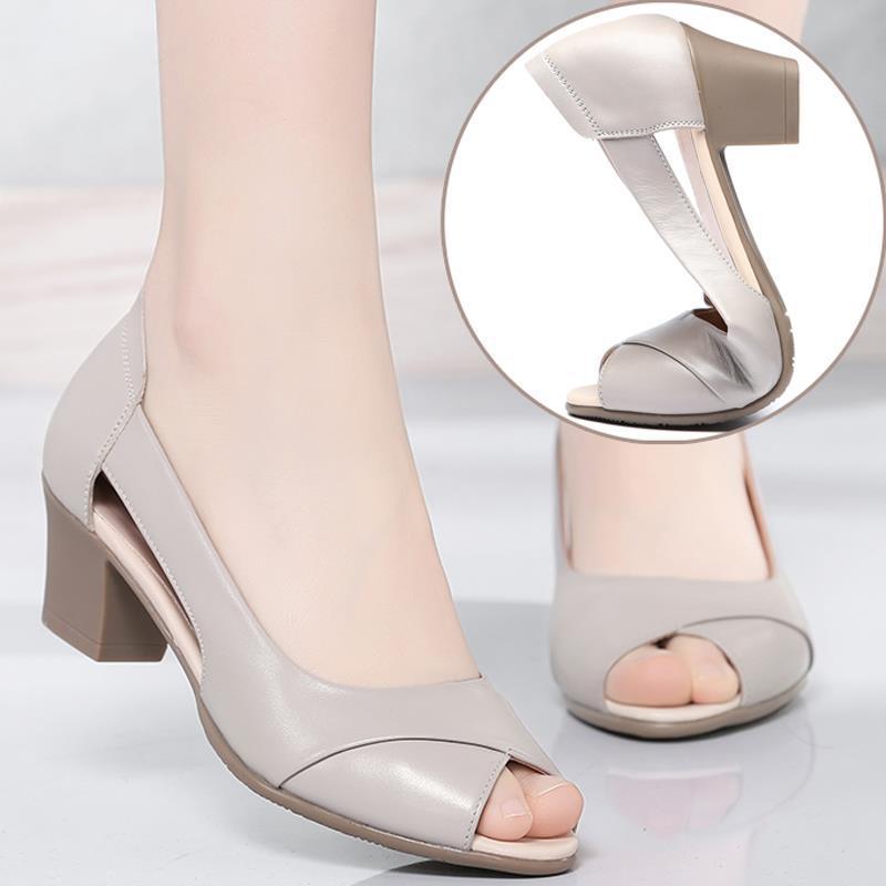 2021夏季新款粗跟百搭舒适软底凉鞋
