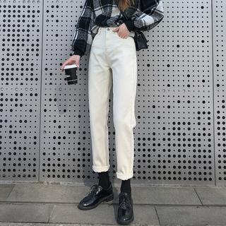 米白色牛仔裤女直筒宽松高腰显瘦米色老爹春装2021年新款裤子春秋