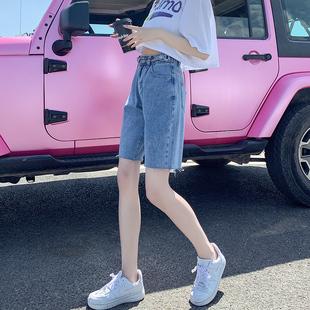 牛仔短裤女高腰宽松五分裤夏季直筒港味阔腿薄款潮ins日系5分中裤
