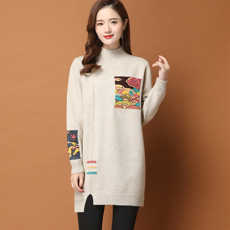 Autumn and winter Korean loose sweater womens Pullover medium long split and thickened wool backing with half high collar cashmere sweater inside