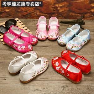 古装儿童时尚中大童红色布鞋子女童绣花鞋夏汉服中国。公主