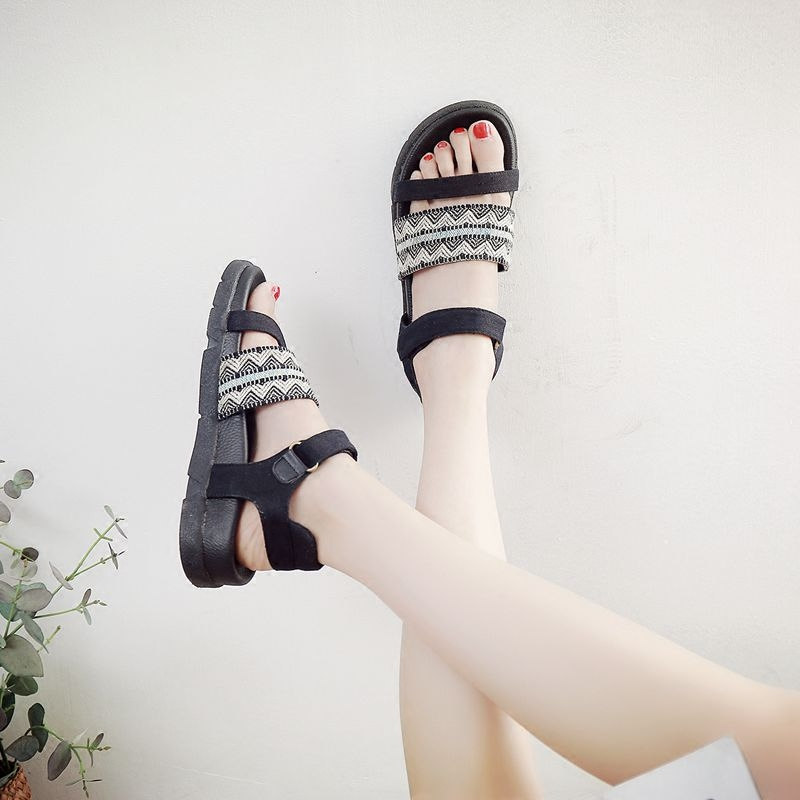 National style Roman sandals womens 2021 new Korean style versatile open toe soft soled Velcro comfortable simple shoes