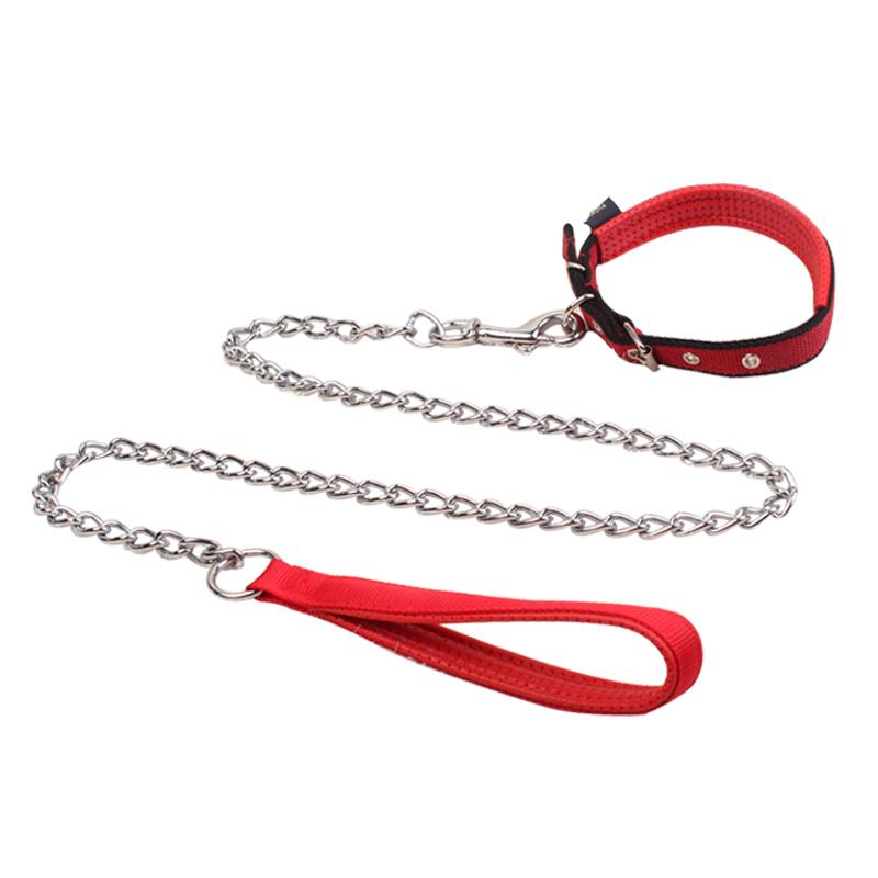 鐵鏈狗狗牽引繩泰迪金毛狗繩子狗鏈子小型中型大型犬項圈寵物用品