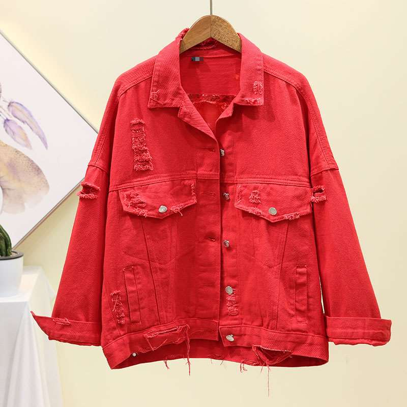 2020 autumn new jacket womens fashion loose short hole Sequin jacket Korean versatile denim jacket autumn