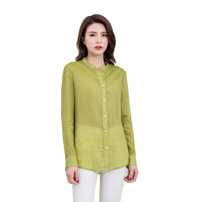 Spring and summer 2020 literature and art lightweight ramie simple super loose cardigan shirt womens Japanese bat sleeve Baby Shirt Top