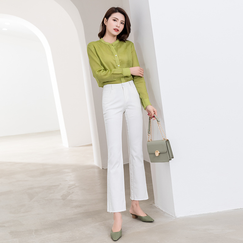 Literature and art Chinese stand collar ramie short sleeve shirt womens summer wear simple and ultra-thin breathable loose long sleeve cotton and linen top