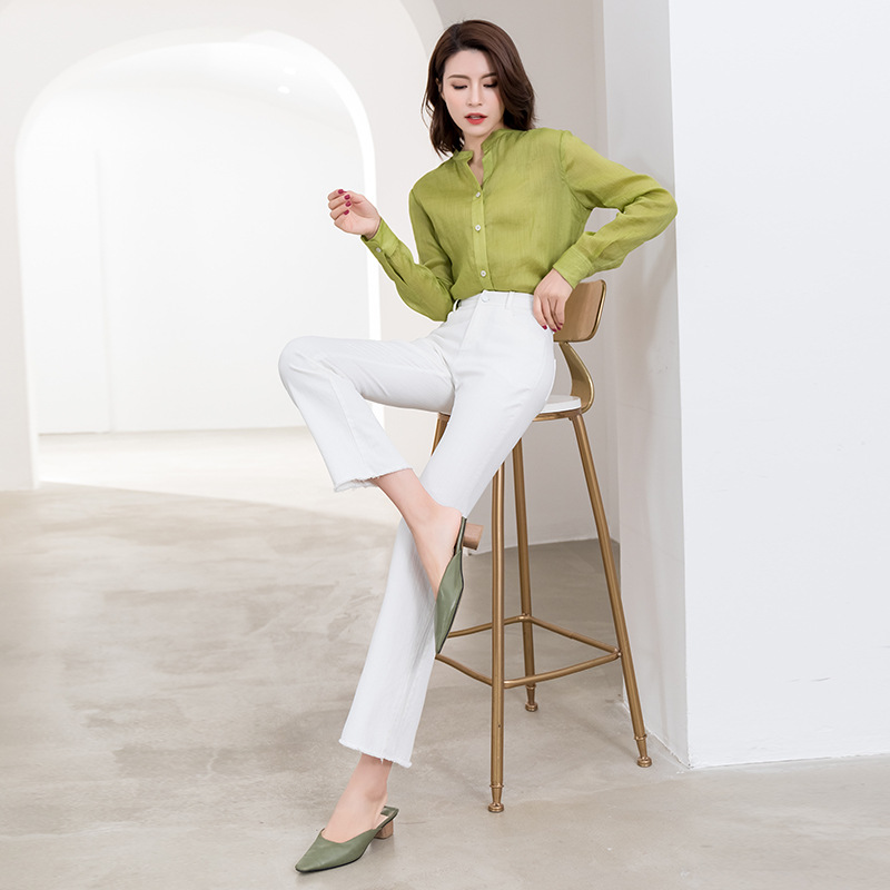 Summer new fresh literature and art round neck sunscreen shirt simple solid color Top Casual loose thin ramie shirt women
