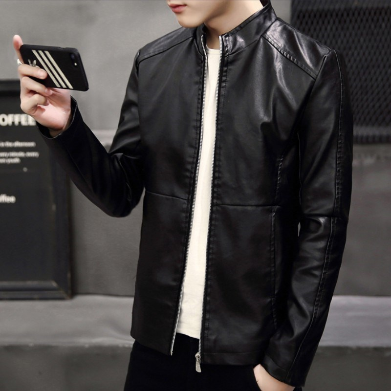 New autumn and winter stand collar leather jacket male youth Pu motorcycle wear slim fashion coat versatile leather jacket leisure trend