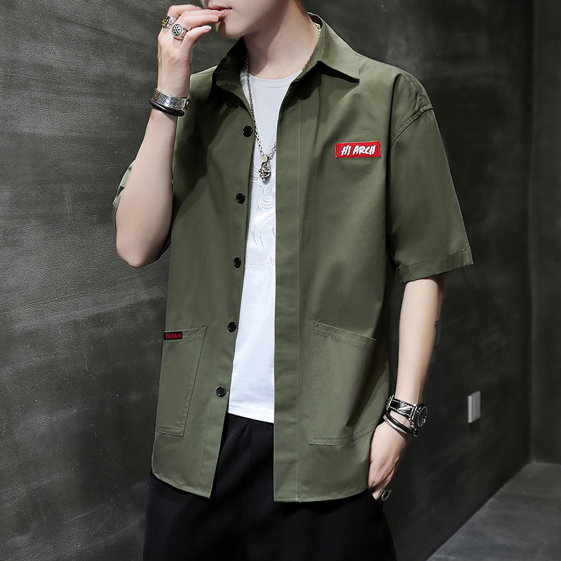 Mens Korean loose short sleeve shirt trend summer versatile cool casual coat fashion half sleeve top