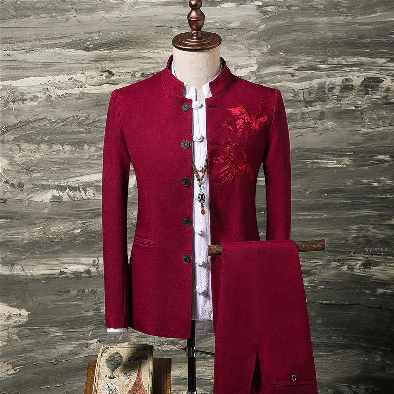 假一赔十中山装男青年西服立领修身中国风结婚中式礼服套装唐装两件套汉服