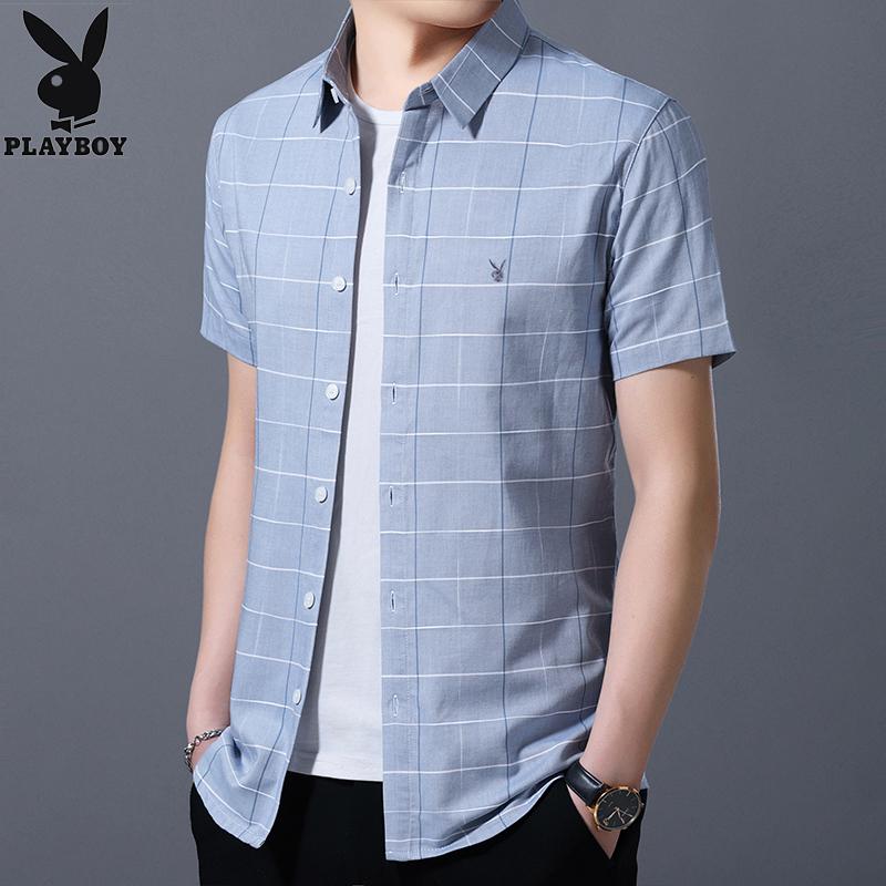 花花公子纯棉短袖衬衫男装夏季韩版休闲全棉半袖衬衣青年男士衬衫