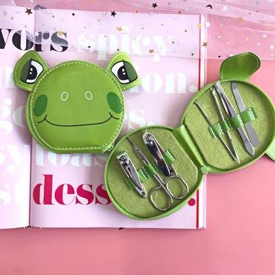 修甲少女心可爱卡通粉色小猪个人护理韩国套装剪指甲钳工具美甲包
