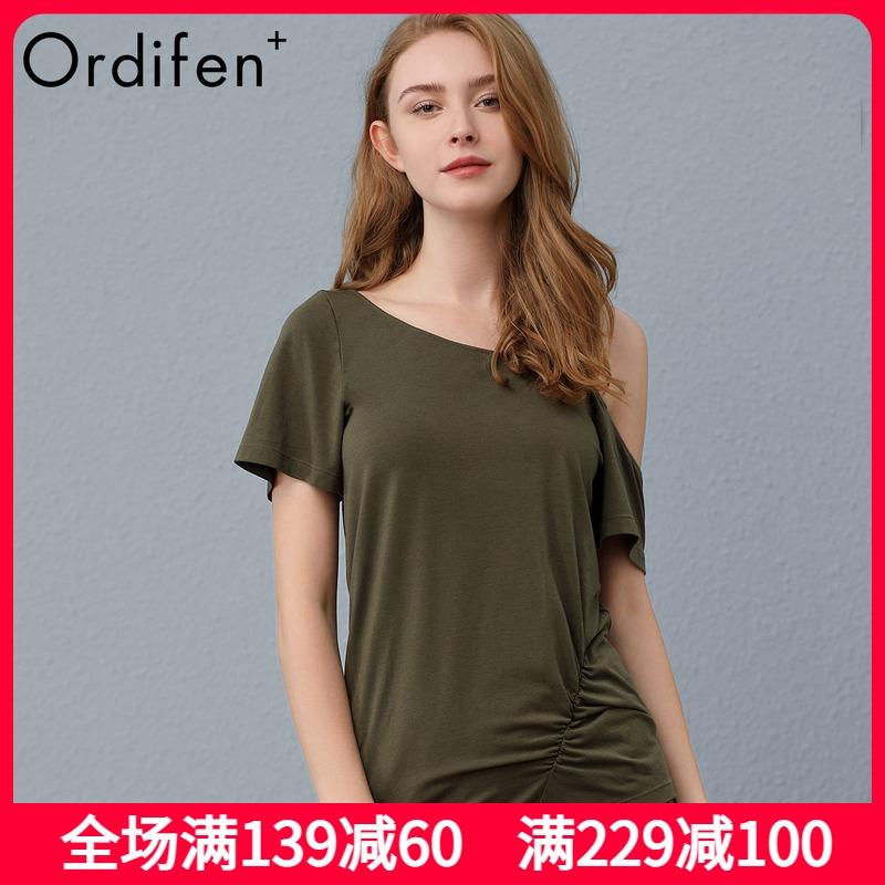 Ordifen Plus欧迪芬O+ 女士短袖不对称性感露肩莫代尔t恤PH9302