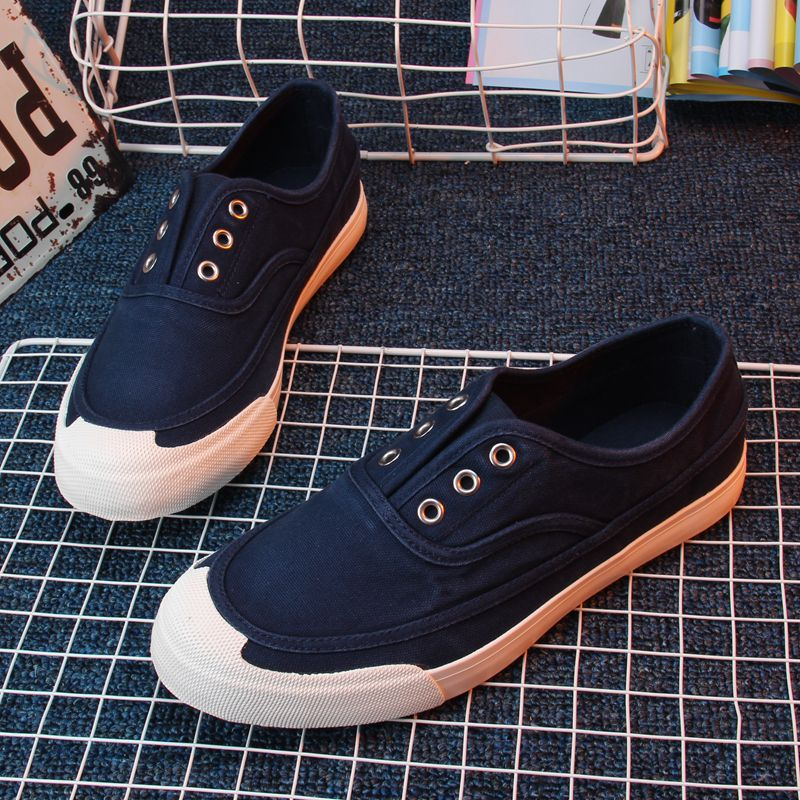 Fashion trendy shoes mens shoes fake lace up one foot water wash breathable soft sole cover foot canvas shoes win cloth shoes step by step