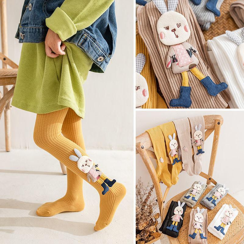 女童连裤袜撞色兔子个性潮流童装儿童连体袜宝宝纯棉婴幼儿打底裤