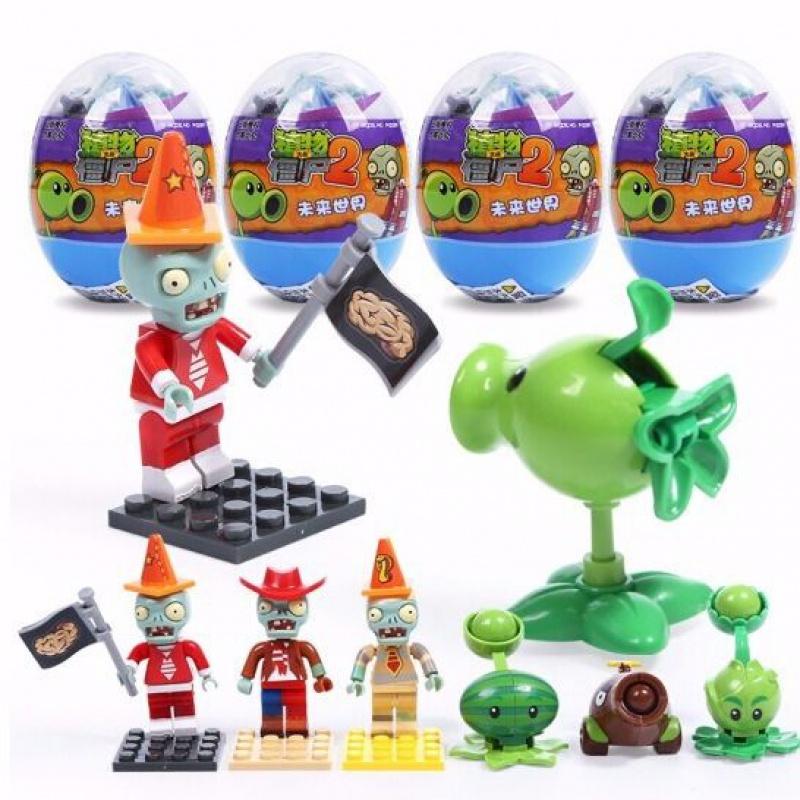 不包邮植物大战僵尸2积木玩具扭蛋拼装益智兼容乐高可发射拼插男女礼物