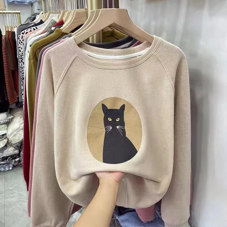 Brand discount store cabinet withdrawal womens spring and autumn Beige cat short sweater lazy chic top