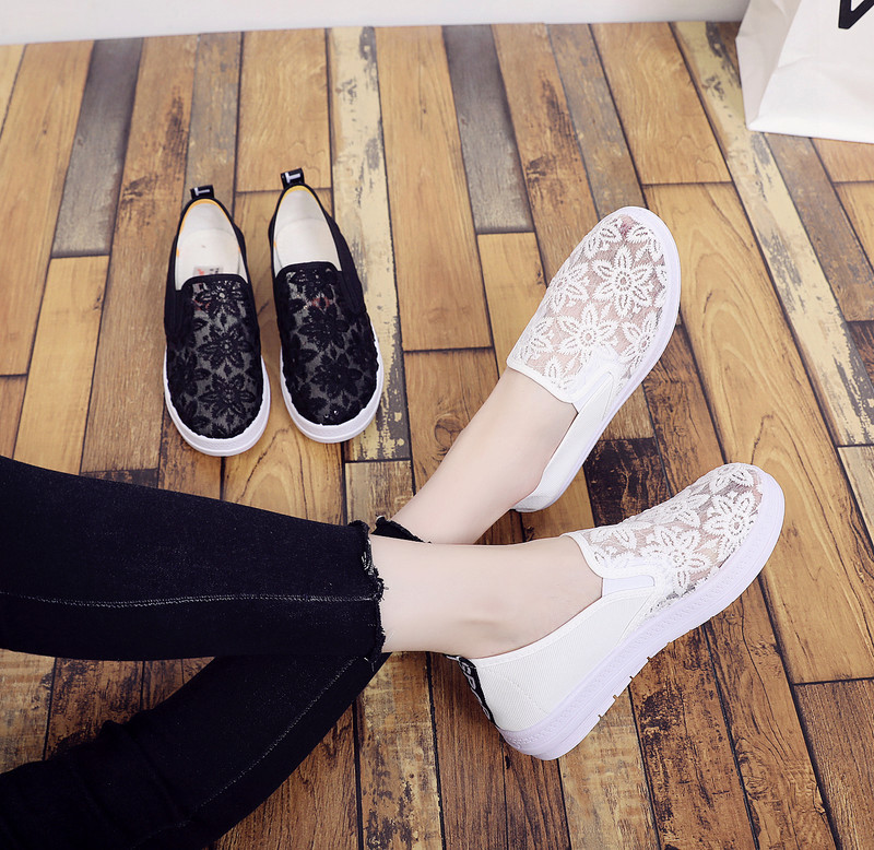 夏季女鞋网面透气网眼休闲鞋蕾丝小白鞋平底女士低帮学生鞋舞蹈鞋