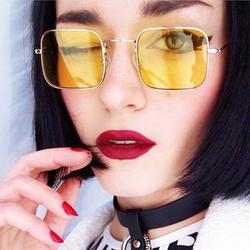 2018新款潮欧美黄色墨镜网红街拍方形透明彩色眼镜男女小脸太阳镜