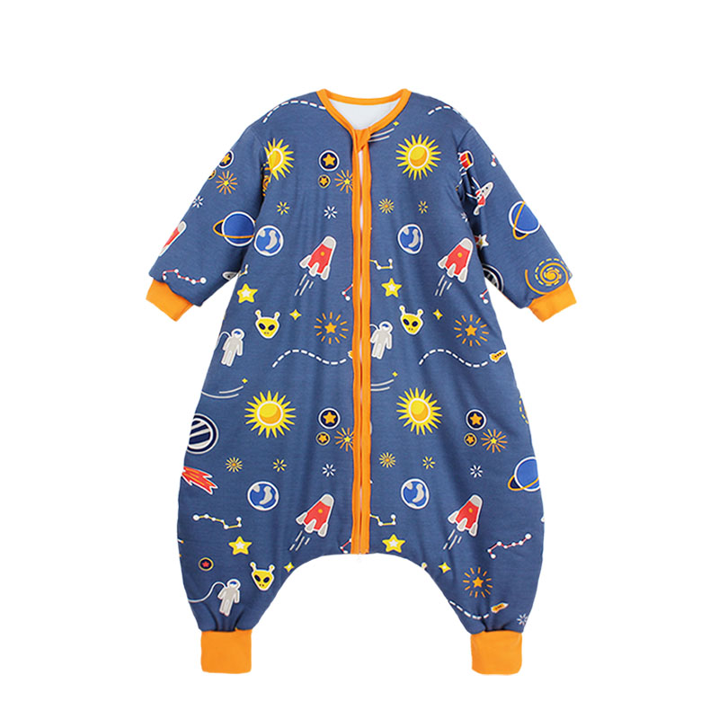 Baby split sleeping bag pure cotton thin style boys and girls baby kick proof Quilt Childrens spring and autumn and winter cotton middle-aged and big childrens pajamas