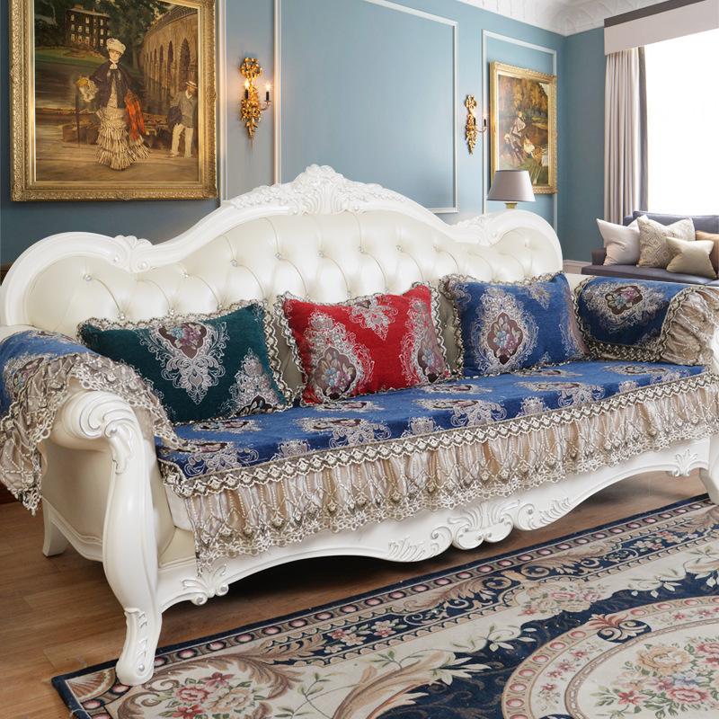 欧式沙发四季通用奢华雪尼尔防滑沙发罩沙发靠背抱枕套定制