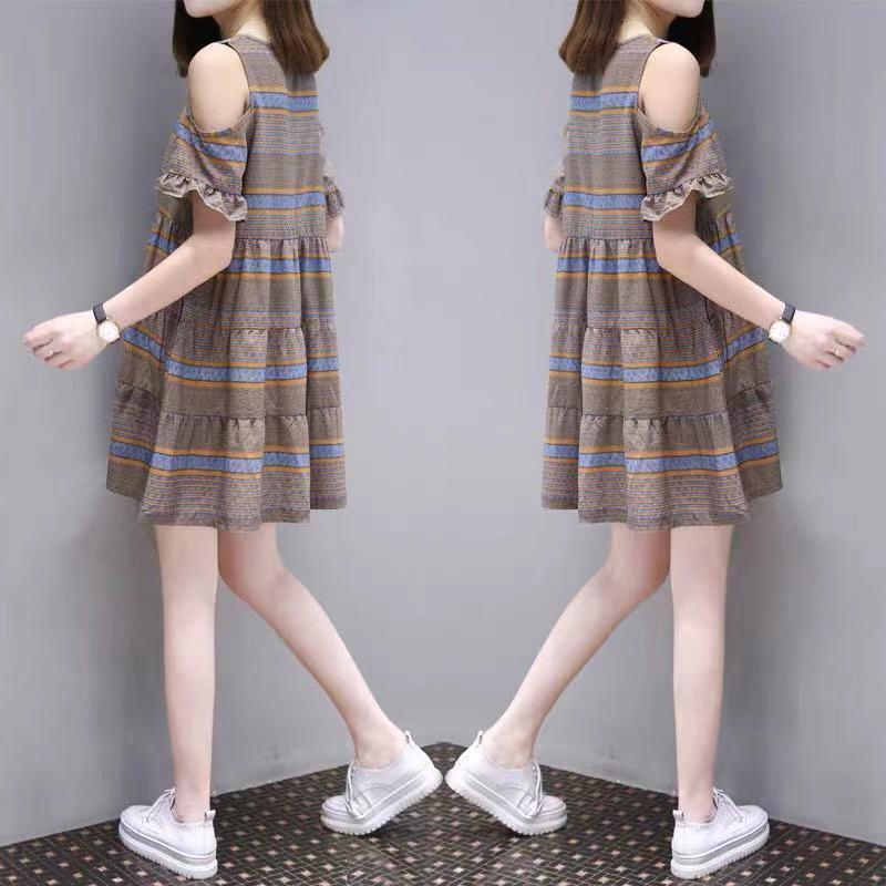 2021夏季新款韩版时尚大码女装中长款露肩条纹遮肚显瘦a字连衣裙