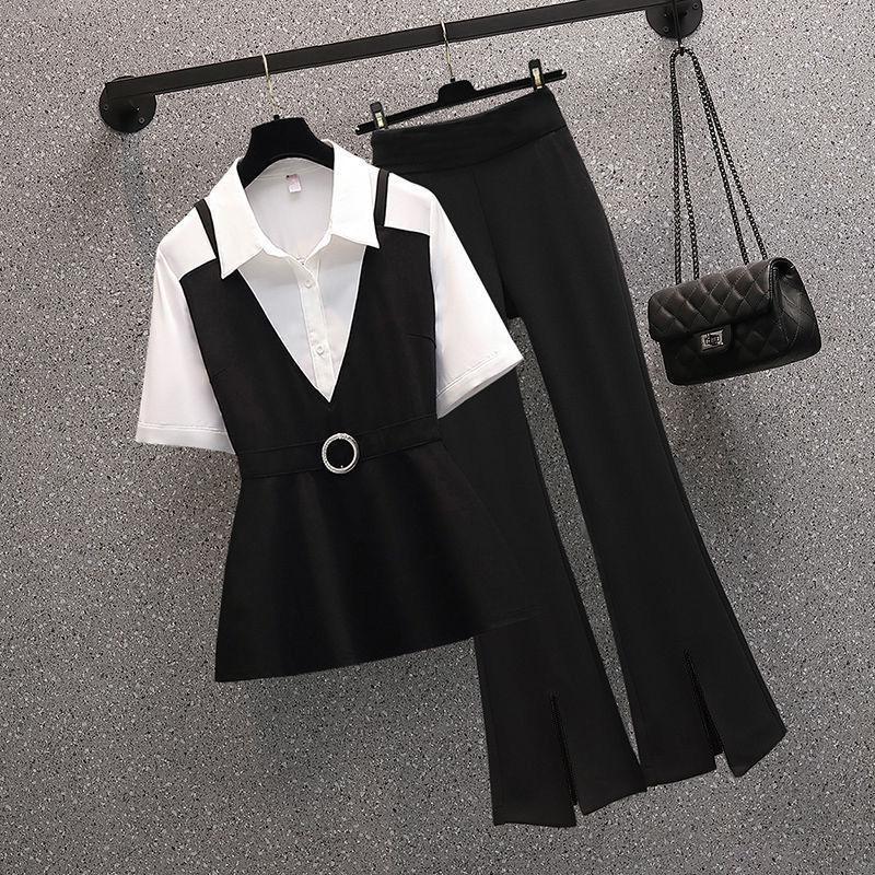 胖妹妹气质职业套装夏新款2021大码女装减龄显瘦衬衫微喇裤两件套