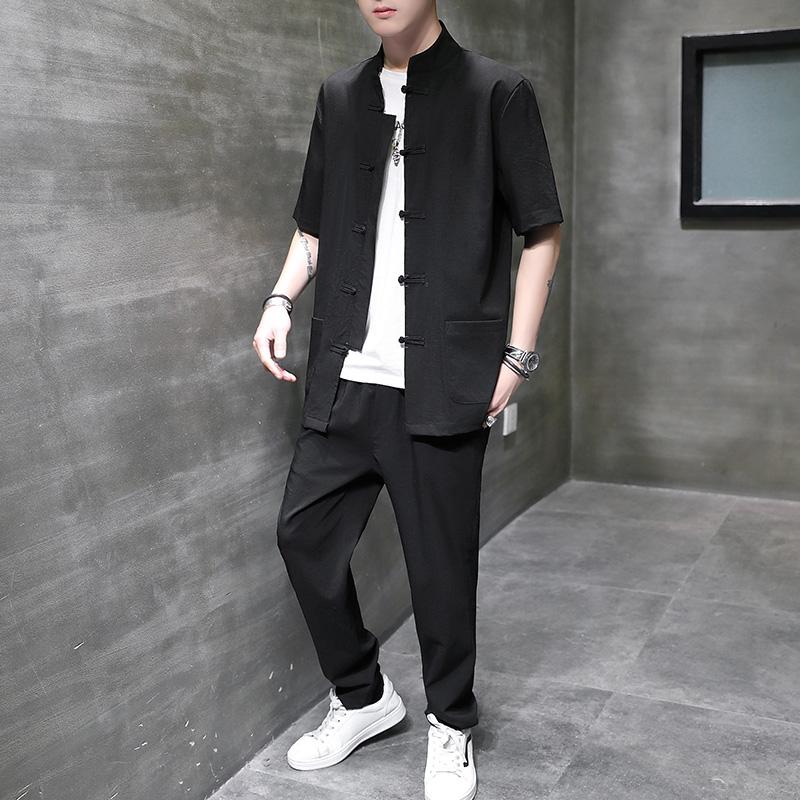 男士棉麻中国风套装男士新款唐装短袖中国等开衫两件套衬衫长裤。