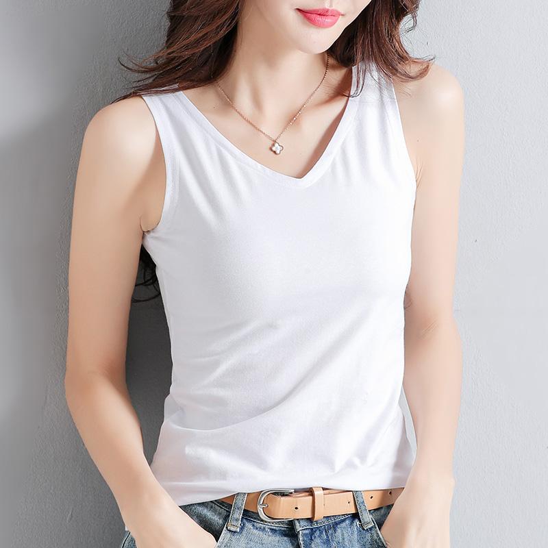 背心女2020夏季新款修身V领性感吊带无袖上衣白色百搭内搭打底衫