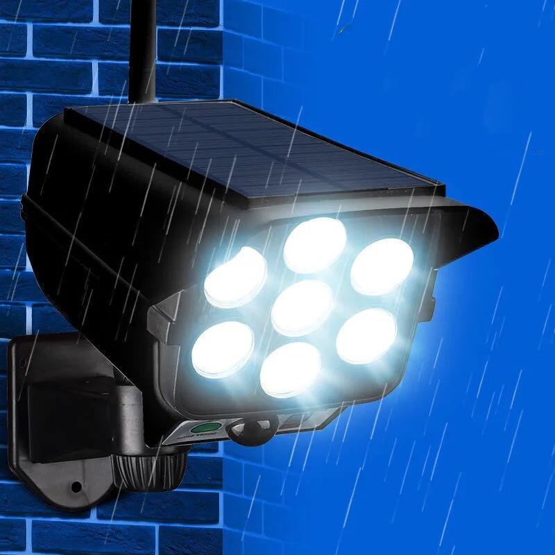 太阳能庭院灯人体感应户外院子灯家用仿真监控摄像头充电照明路灯