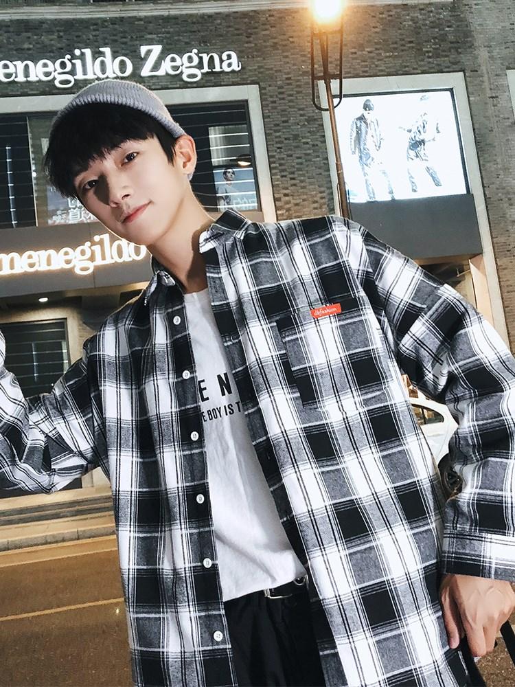 衬衫男长袖韩版潮流帅气秋季宽松寸衬衣男士秋装上风外套