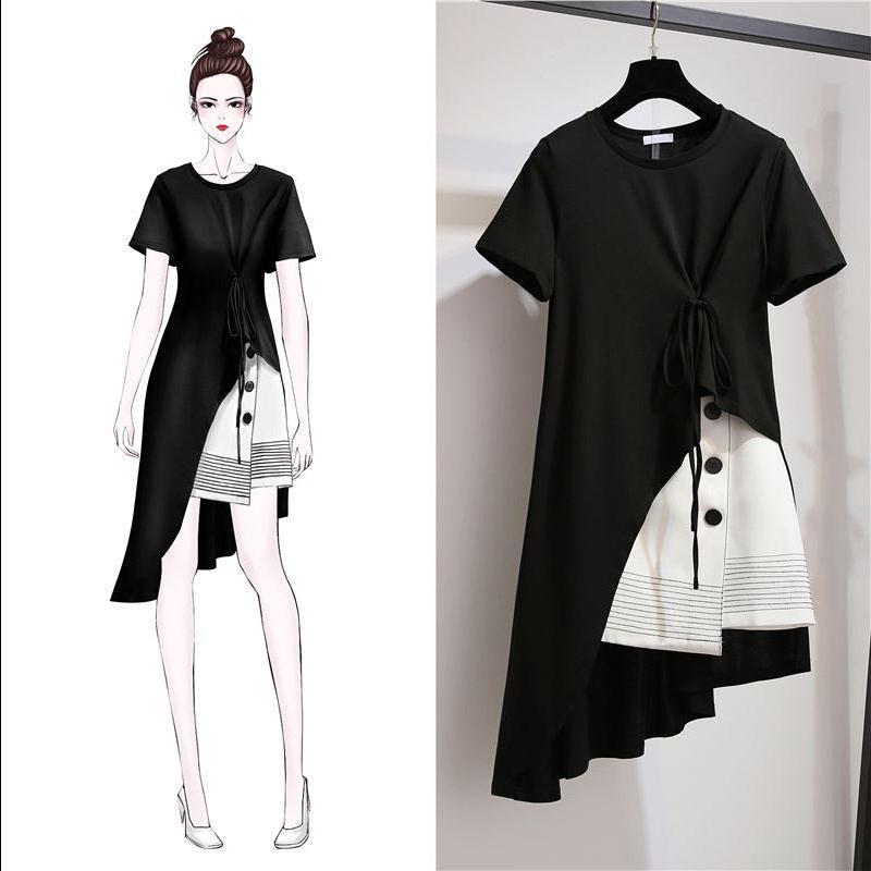 单/套装 纯棉女夏时尚2020新款女装胖MM韩版短袖半身裙显瘦两件套