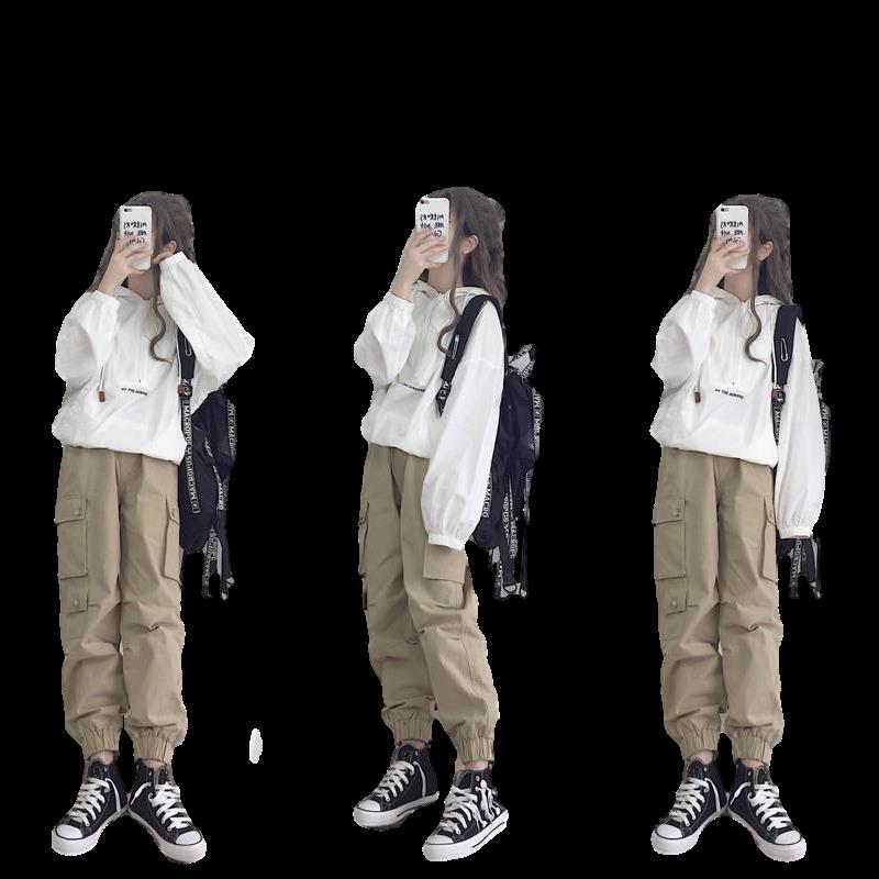 纯棉春秋套装女学生韩版宽松连帽外套+工装裤原宿港风休闲两件套