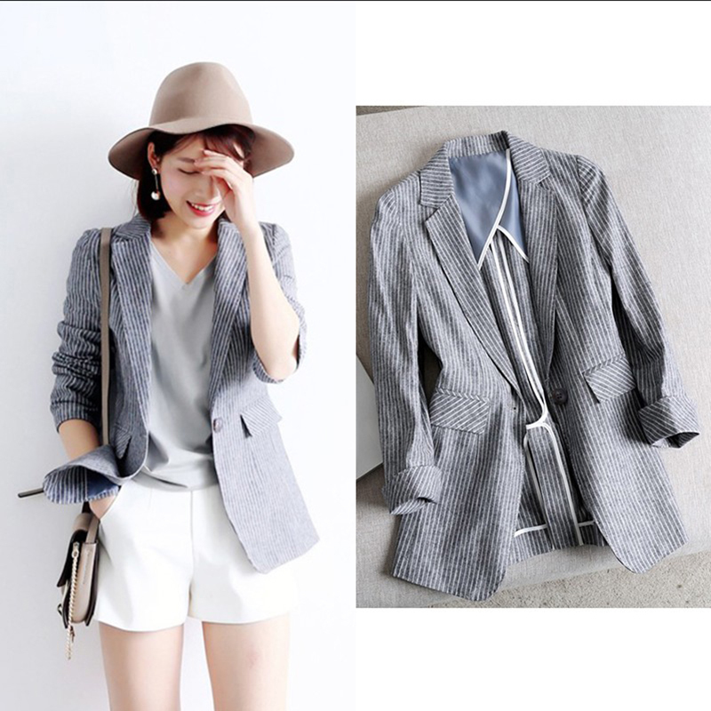 Spring and summer thin section cotton linen small suit jacket women's Japanese seven-point sleeve fashion wild striped one-piece buckle